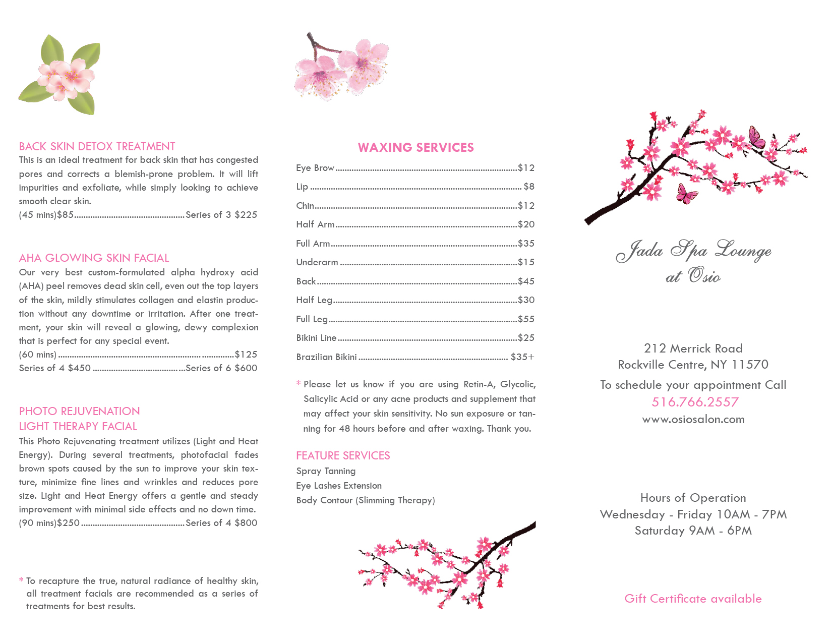 Brochure - Jada Spa Lounge at Osio2